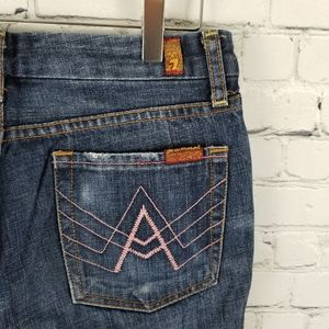 7 FOR ALL MANKIND | pink 'A' pocket flare jeans